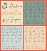 Set of three retro doodle fonts - stock illustration