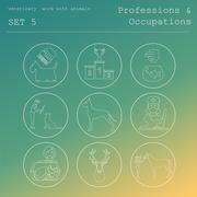 Professions and occupations outline icon set. Veterinary, work with animals. - stock illustration