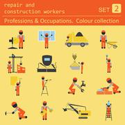 Professions and occupations coloured icon set. Repair and construction worker - stock illustration