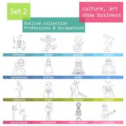 Professions and occupations outline icon set. Culture, art, show business. Fl - stock illustration