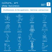 Stock Illustration of Professions and occupations outline icon set. Culture, art, show business. Fl