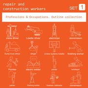 Professions and occupations outline icon set. Repair and construction workers - stock illustration