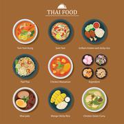 Set of thai food Stock Illustration