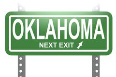 Oklahoma green sign board isolated - stock illustration