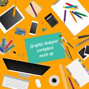 Workspace of the graphic designer. Mock up for creating your own modern creat - stock illustration