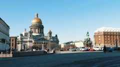 Saint Petersburg, Russia. St. Isaac Square and Cathedral near monument to Stock Footage