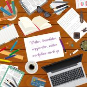Workspace of the writer, translator, copywriter, editor. Mock up for creating Stock Illustration