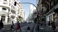 Stock Video Footage of Gran Via Pedestrian Crossing