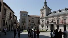 Tourists in the Plaza De La Villa - stock footage