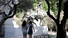 Tourists at the Plaza De Espana Stock Footage