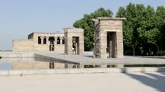A Tourist Enters the Temple of Debod Stock Footage
