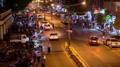 Time Lapse of Street Market at Night - Yangon Myanmar Burma Stock Footage