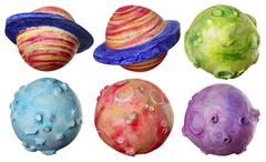 Space fantasy six planets handmade colorful Stock Photos