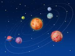 Space planets fantasy handmade universe - stock photo