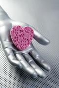 Futuristic love silver valentine heart - stock photo