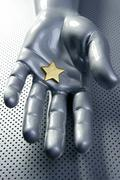 Golden star on silver futuristic hand Stock Photos