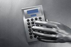business futuristic silver hand calculator - stock photo