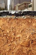 Broken city road excavation earthquake cross section Stock Photos