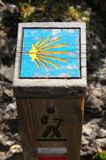 Way of Saint James wooden pilgrims road sign - stock photo