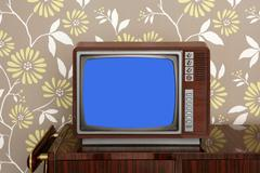 retro wooden tv on wooden vitage 60s furniture - stock photo