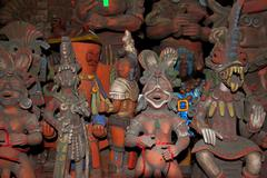 Aztec and  Mayan figurines statues clay Mexico Stock Photos