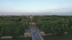 Aerial view of Munich with Prinzregentenstrasse Stock Footage
