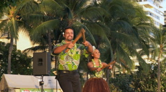 Hula dancers with puili Stock Footage
