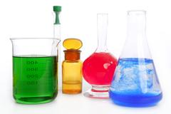 Chemist research laboratory with chemical equipment - stock photo