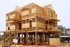 Wood house contruction, american wooden structure - stock photo