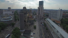 Aerial view of Breitscheidplatz Square in Berlin Stock Footage