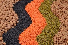 Mixture of dried lentils and beans - stock photo