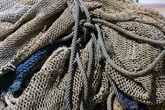 Fishing tacke for professiona net fisherboat in Mediterranean - stock photo