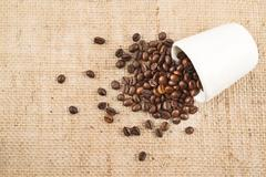 Cup full of coffee beans over hessian cloth Stock Photos