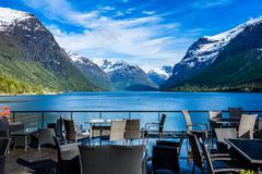 Cafe on the nature background - stock photo