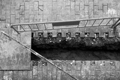 Urban civil construction, Spain, trench, black and white - stock photo