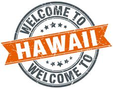 Stock Illustration of welcome to Hawaii orange round ribbon stamp