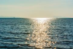 The sun and the sea surface Stock Photos