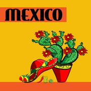 Poster  Mexico with , sombrero, spicy chili peppers, maracas, cactus and lime Stock Illustration