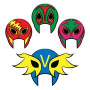 Mexican wrestling masks on a white background - stock illustration