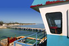 Stock Photo of boat ferry control cabin in caribbean sea