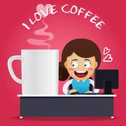 Woman working on computer and big coffee cup Stock Illustration