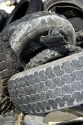 vehicle tyres recycle ecological factory waste environment indus - stock photo