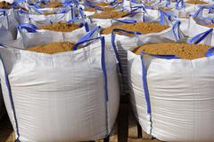 Stock Photo of sandbag white big bag sand sacks quarry