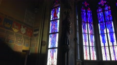 Stained glass inside the City Hall tower at the Old Town Square of Prague. Stock Footage