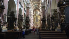 Interior of the St. James Basilica (Kostel svateho Jakuba Vetsiho). Prague Stock Footage
