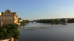 Vltava river from the Charles Bridge in Prague. Stock Footage