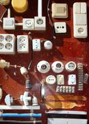 Hardware electic equipment vintage wood display DIY Stock Photos