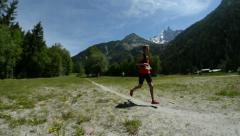 Alex Nichols leading at the Mont Blanc 80K on June 26 in Chamonix Stock Footage
