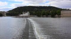 Vltava river & Petrin hill near the Charles Bridge. Prague. Stock Footage
