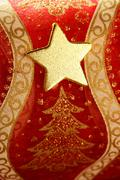 Christmas golden decoration with gold star - stock photo